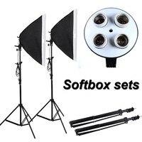 Photographic Equipment Photo Studio Soft Box Kit Video Four Capped Lamp Holder Lighting 50 70cm Softbox