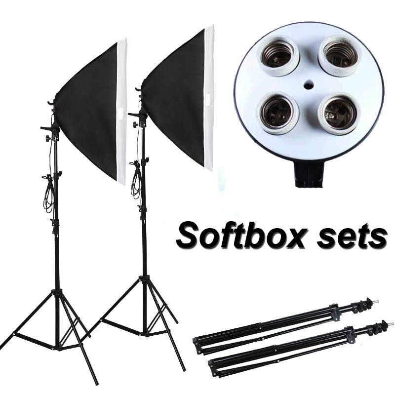 Photographic Equipment Photo Studio Soft Box Kit Video Four-capped lamp Holder Lighting+50*70cm Softbox+2m light stand photo box цена 2017