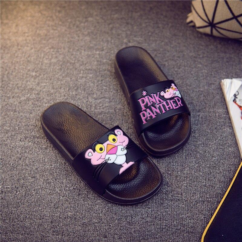 2018 women slippers Pink Leopard cartoon slippers female Summer slippers Slides flip flops Zapatillas Mujer diapositives slaps