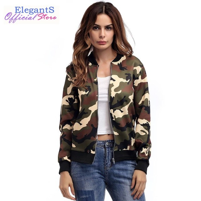 ad4d68d8d3785 Women Camouflage Print Jacket Coat Zipper Military Army Green Camo Bomber  Jacket Outerwear Female Autumn Spring Overcoat Pockets