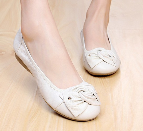 Spring Summer Genuine Leather font b Women b font Flats With Bowknot Casual Leather Shoes Ballet