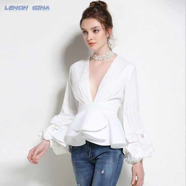 c347af4c961 Lemon Gina Women Fashion Ruffles Blouse Deep V Neck Ladies Elegant Tops  Clothing Shirts Tops Female Clothes Blouses Shirt LG3745