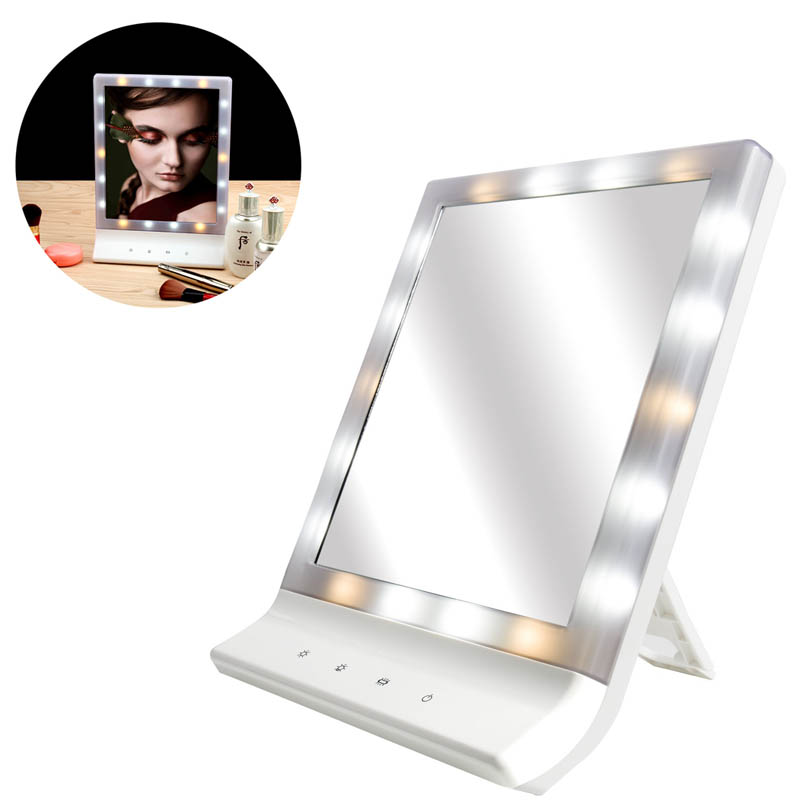 LED Makeup Cosmetic Mirror Multiple Illumination Large Screen Wall Mount Mirror with 18 LED Light HJL2017 woodpow makeup mirror lamps touch screen
