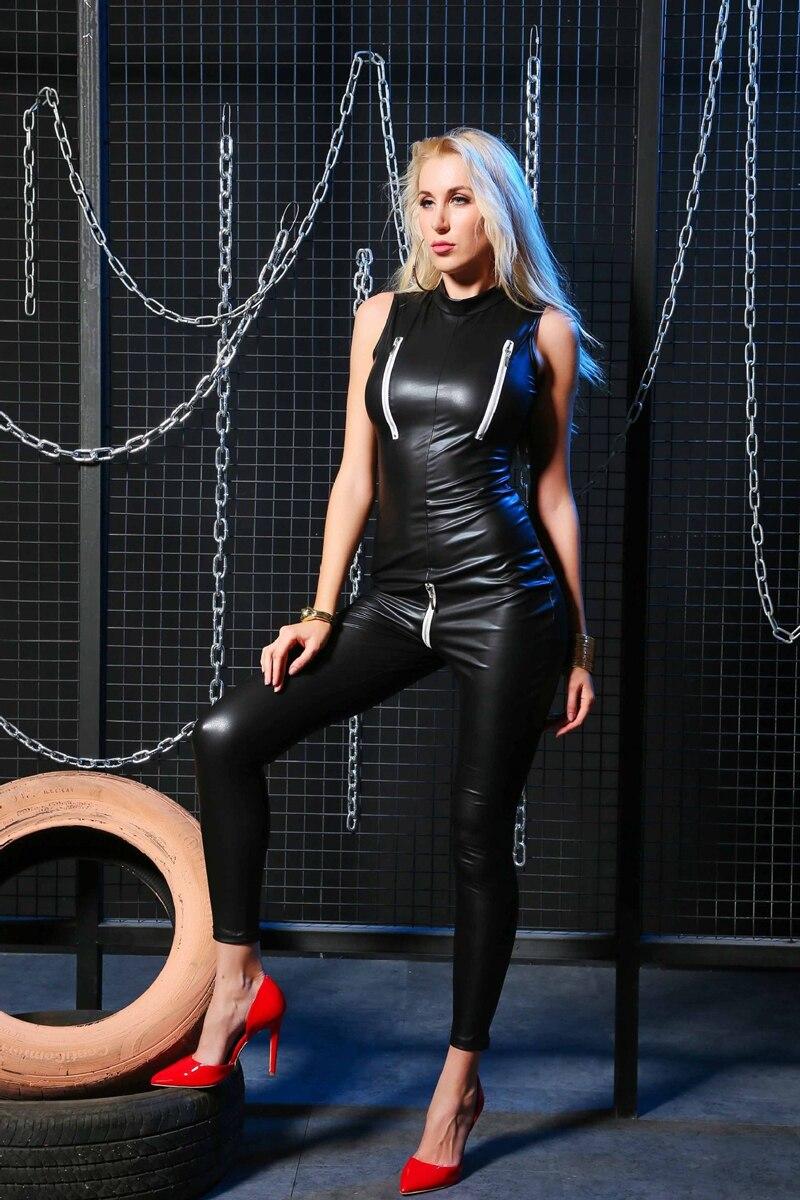 Plus Size Women Sexy Lingerie Faux Leather Night Club Jumpsuit Bodysuit Adult Latex PVC Catsuit Zipper open crotch Erotic wear 5