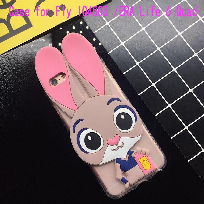 3D Cute Pink Rabbit Case for Fly IQ4503 ERA Life 6 Quad Soft Silicone TPU Cartoon Back Cover Cases Fundas Coque Capa