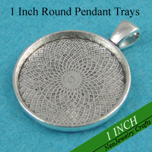 1 inch Antique Silver Round Pendant Tray 25mm Cameo Setting Round Cabochon Tray Blank Antique Silver