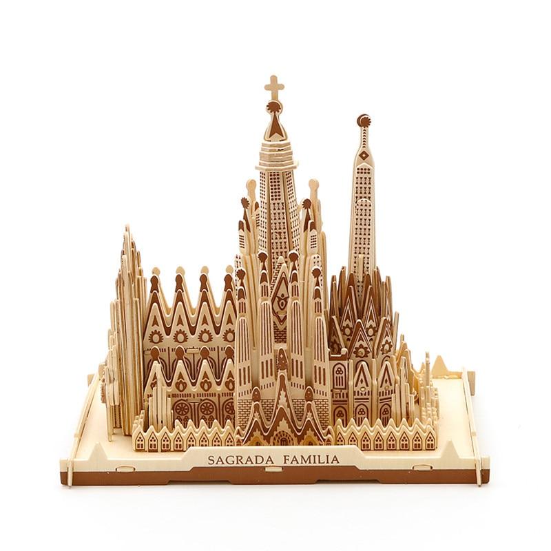 Strereo mosaïque bois Puzzle 3D haute difficulté Puzzle en bois bâtiment artisanal modèle bois bricolage artisanat - 4