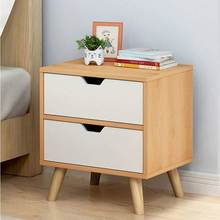 Bedroom bedside cabinet locker side storage cabinet drawer small room Nordic wind bedside table solid wood legs(China)