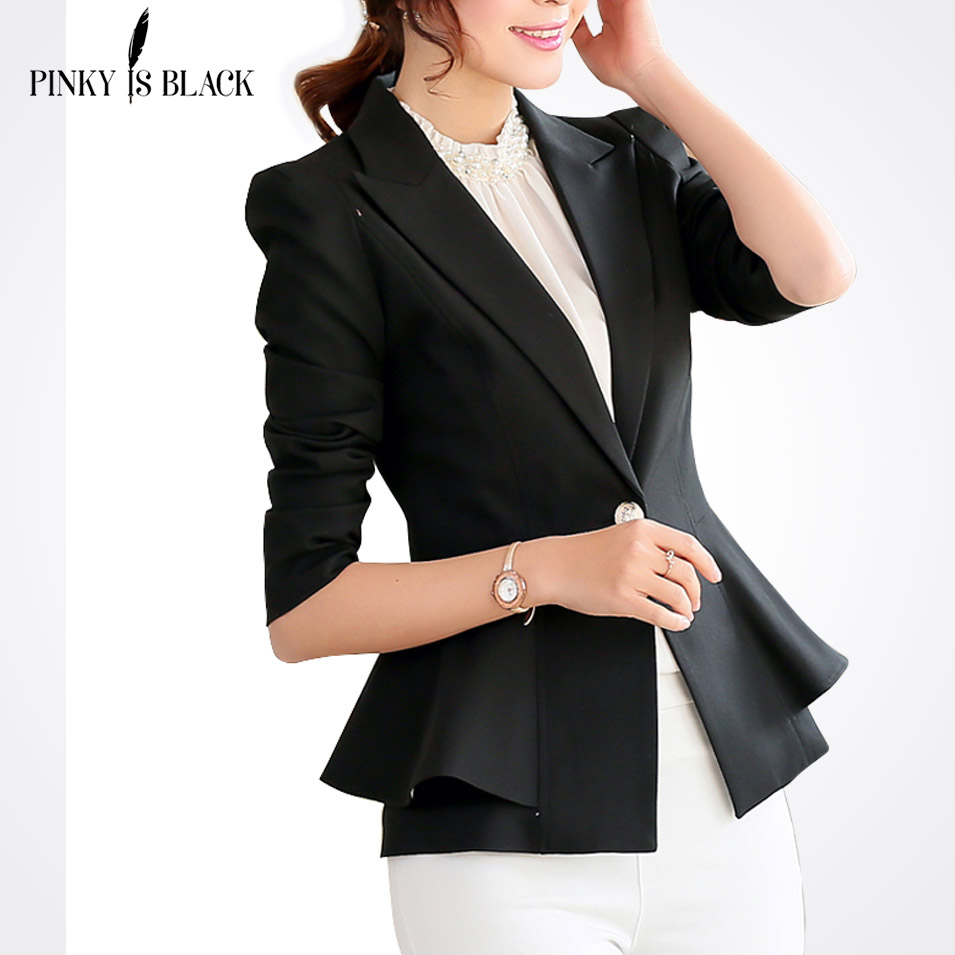 Pinky Is Black blazer women jacket ruffle female candy color slim long-sleeve short women suit jacket outerwear OL lady blazer