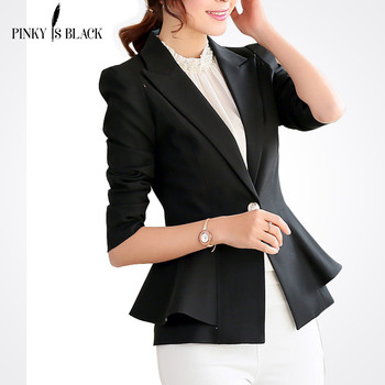 Pinky Is Black blazer women jacket ruffle female candy color slim long-sleeve short suit outerwear OL lady