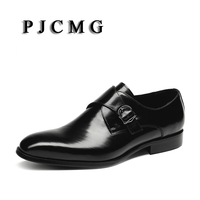 PJCMG 새로운 통기성 남성 비즈니스 버클 스트랩 블랙/
