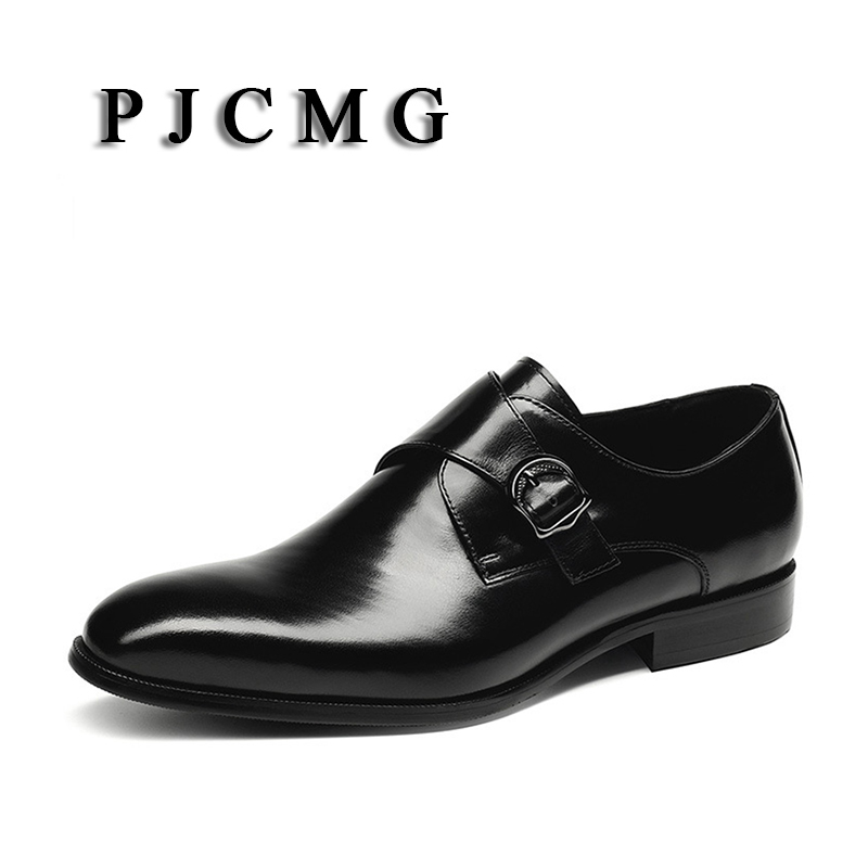 PJCMG New Breathable Mens Business Buckle Strap Black/Wine Red Formal Mens Dress Genuine Leather Wedding Oxfords Office Shoes pjcmg fashion high quality wine red black formal oxfords business genuine leather lace up dress breathable mens wedding shoes