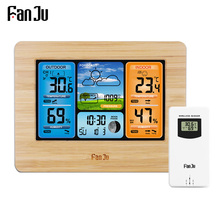 FanJu FJ3373 Digital Weather Forecast Station Wall Alarm Clock Temperature Humidity Backlight Snooze Function USB Power Supply