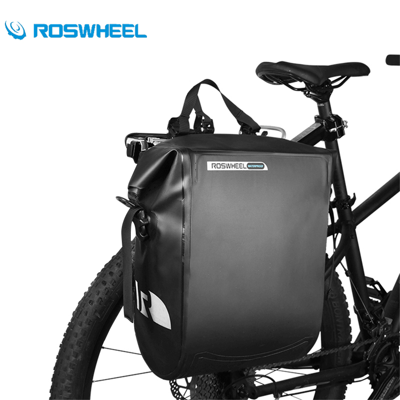 ROSWHEEL Cycling Rack Bag Waterproof Mountain Bike Pannier Adjustable Shoulder Strap Road MTB Bikes Rear Seat Trunk Bicycle Bag roswheel mtb bike bag 10l full waterproof bicycle saddle bag mountain bike rear seat bag cycling tail bag bicycle accessories