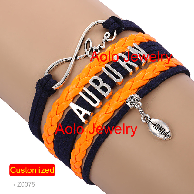 6pcs Lot Auburn Football Infinity Bracelet Navy Orange Make Your Own Design Free Shipping
