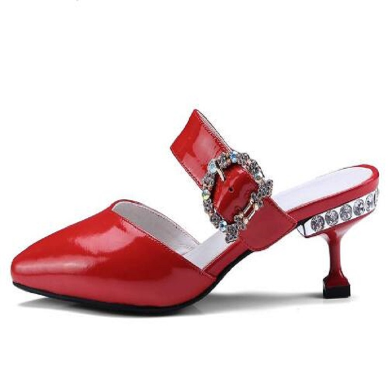 DIJIGIRLS mules shoes women slippers sandals 2018 summer new patent leather pointed toe rhinestone high heels plus size women in the summer of 2018 the new patent leather nude wedges pointed toe pump work shoes leisure women plus size 35 40 a23
