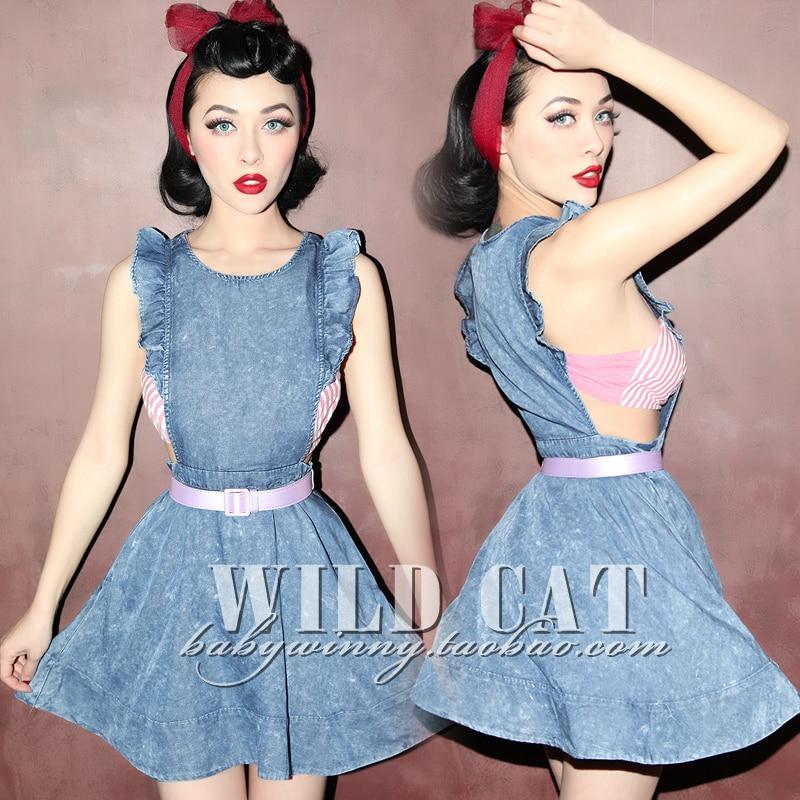 Mr. and miss FREE SHIPPING Vintage sweet all-match denim ruffle cutout denim dress