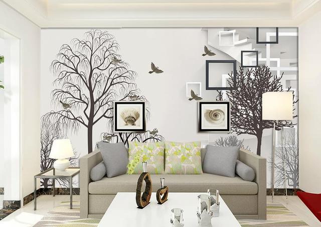 US $36.66 |3D Wallpaper Für Wände Benutzerdefinierte Wandbild vlies Tapeten  Schwarz und weiß einfachen baum Wohnzimmer Hintergrund Wohnkultur in 3D ...