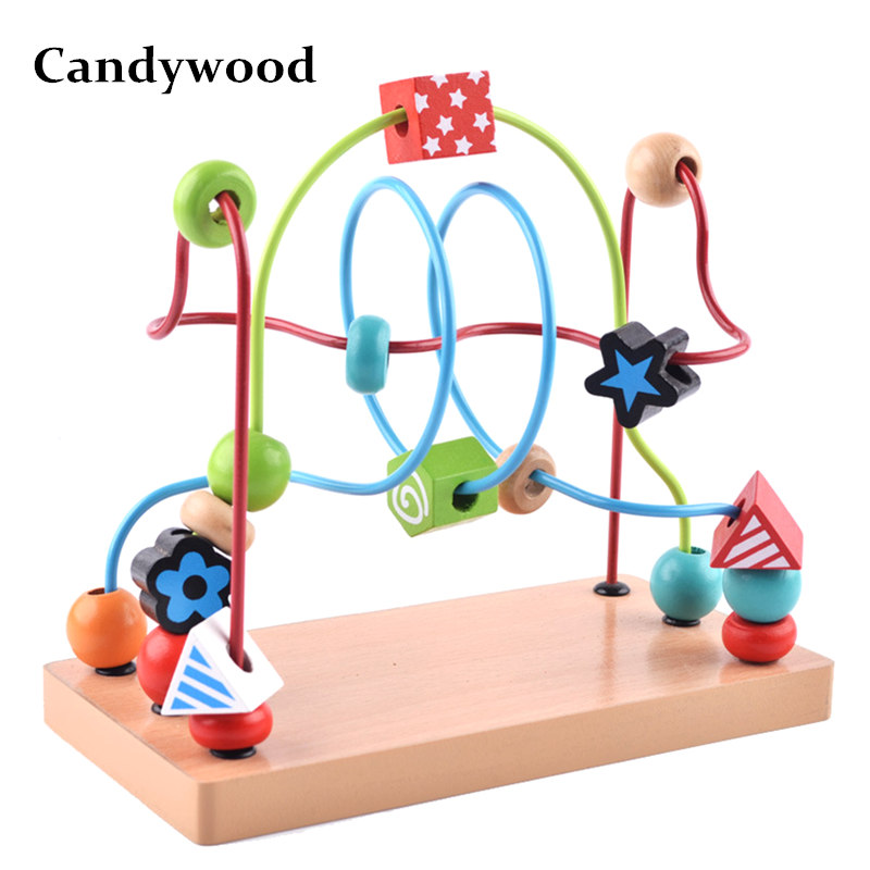 Candywood Wooden colorful cute Track Maze Beads Around Beads Wooden Toy Maze Classic Baby Developmental Toy for kids boy girl baby kids colorful wooden beads labyrinth maze game children toy wooden toy mini around beads wire maze educational game wj 094