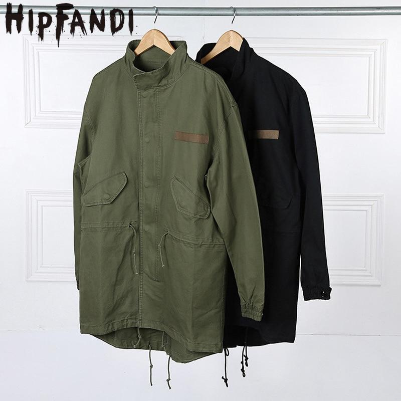 HIPFANDI 2017 Fashion Korean Hot Sale Men's Japan Jacket Overcoat Kanye West Long Military Style European Trench Coat Men