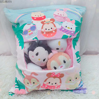 Cute Cartoon Plush Pillow Animals Soft Stuffed Squirrel Rabbits Creative Snack Pillow Back Cushion Plush Doll Brand New 50x37cm