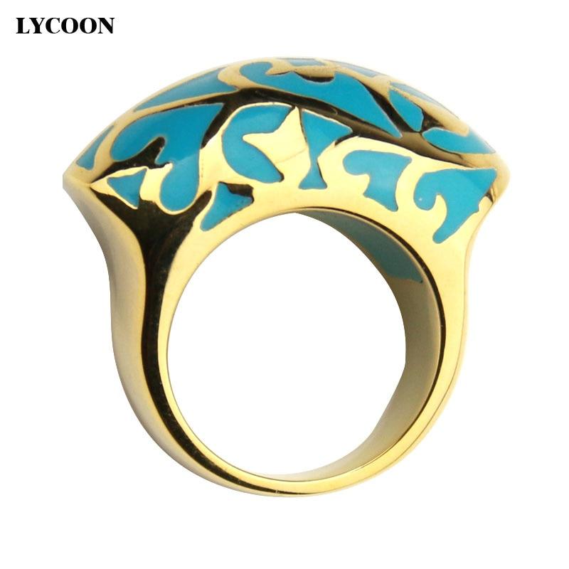 Lycoon Последняя мода 316L нержавеющая сталь палец кольцо с цвет небесно-синий Смола эмаль в желтого золота покрытие женщины кольцо Бесплатная д...