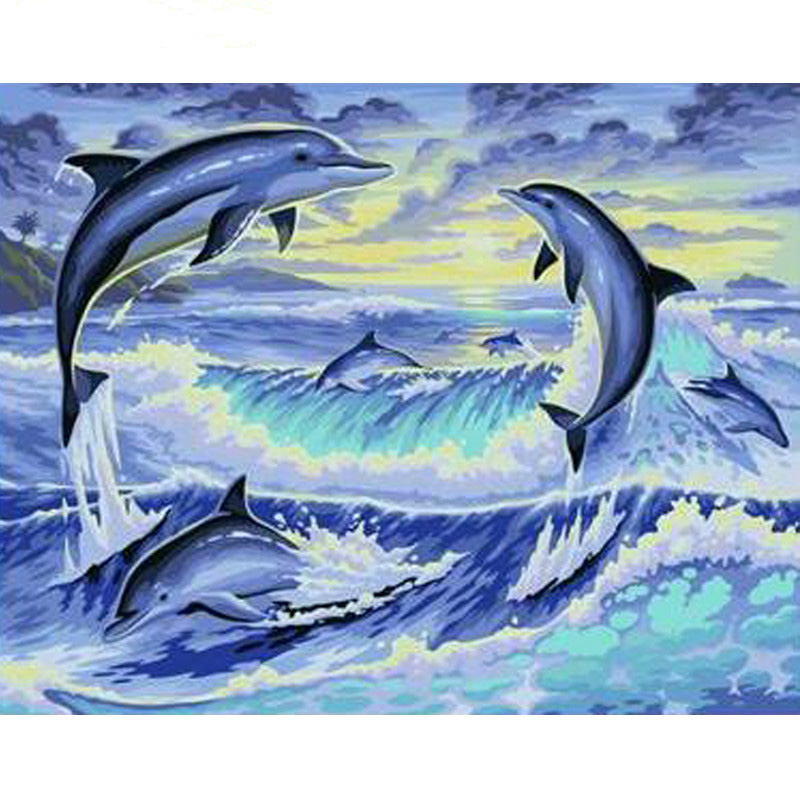0329ZC863 Home wall furniture Decorations DIY number painting children Graffiti flying dolphin painting by numbers 0329zc0401 home wall furniture decorations diy number painting children graffiti lonely snow wolf painting by numbers