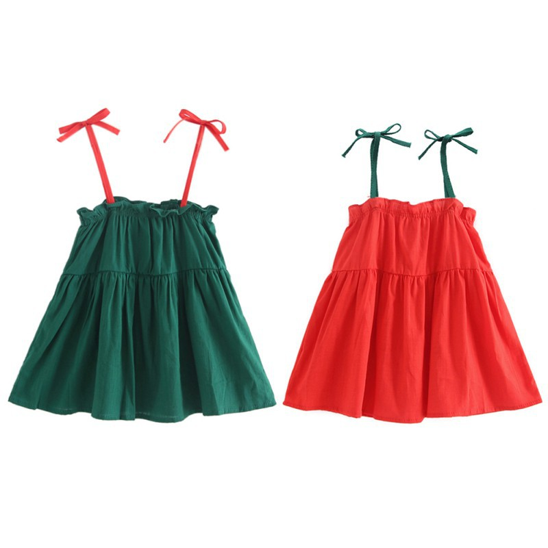 2018 New Real Knee Sleeveless Bow Cute Baby Girl Clothes Dress Slip
