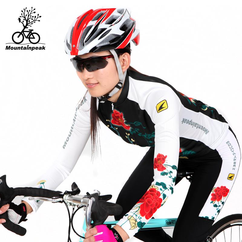 Mountainpeak summer riding long suit female cycling shorts bicycle equipped with the spring and autumn period and the flowers