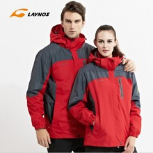 FreeShipping-2016 New Laynos Lovers Autumn/Winter Outdoor Waterproof Warm Camping Hiking 3in1 Two-piece Fleece Jackets 130A168A(China)