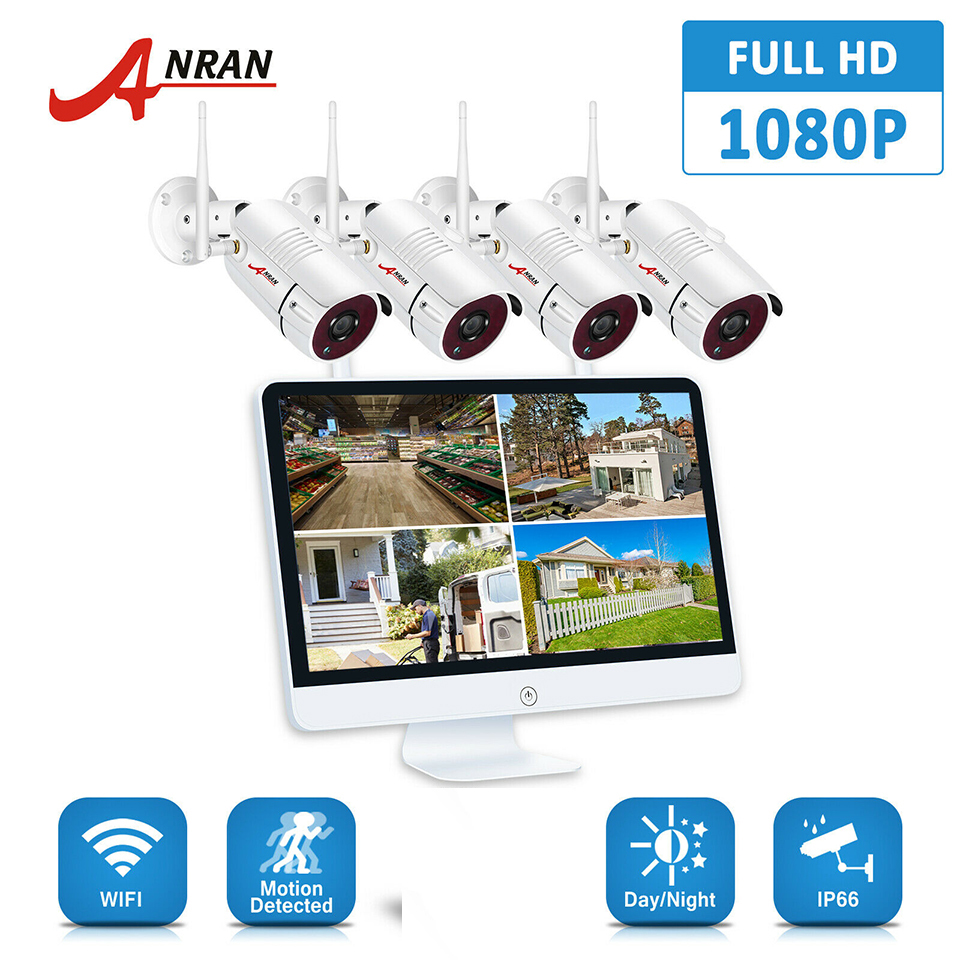 ANRAN H.265 8CH NVR 15 Inch Monitor 4PCS 2PCS 2.0MP 36IR Outdoor 1080P Night Video Wireless Camera Security System 1/2/3TB HDD