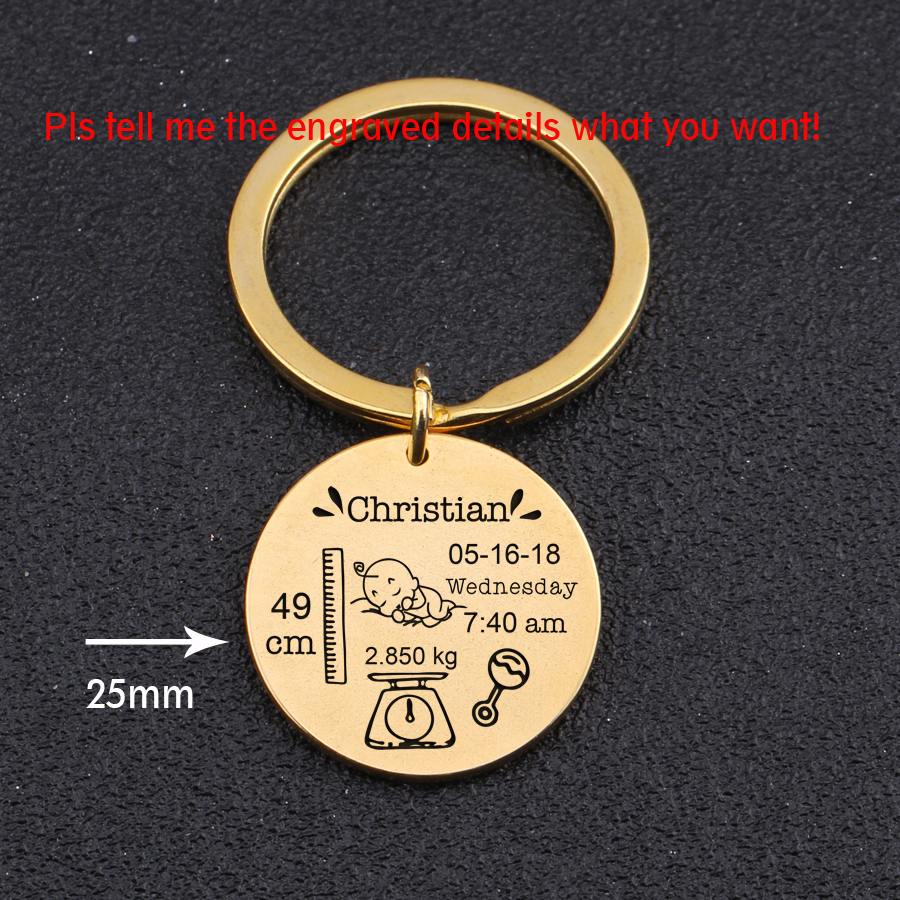 Round Baby Keychain Personalized Name Date Of Birth Weight Time Height For Newborn Commemorate Baby Stats Keyring New Mom Gift