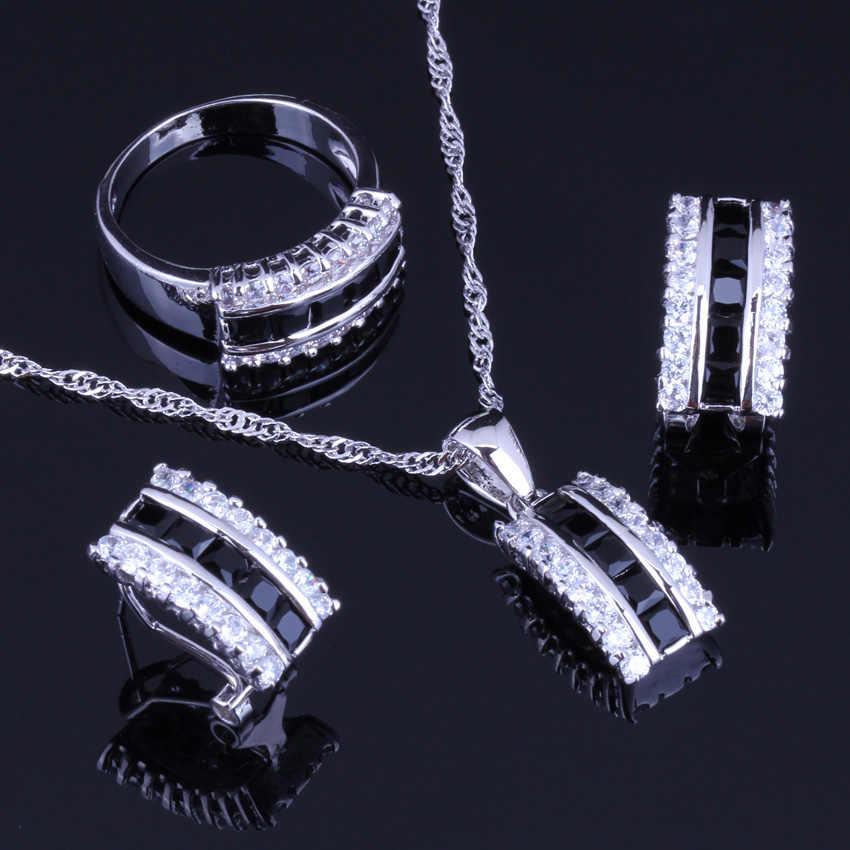 Stilvolle Schwarz Zirkonia Weiß CZ 925 Sterling Silber Schmuck Sets Für Frauen Ohrringe Anhänger Kette Ring V0006