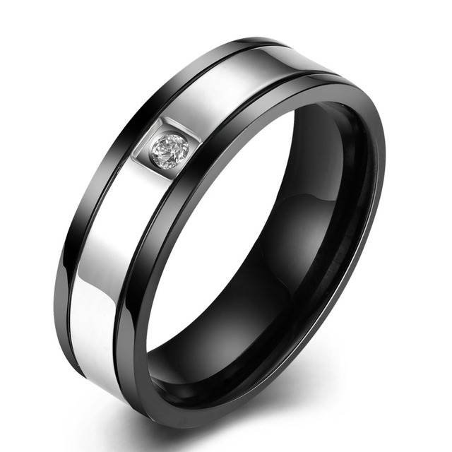 2015 Latest Style Trendy Titanium Stainless Steel Rings For Men Ring With AAA Cubic Zircon Ring Romantic Jewelry