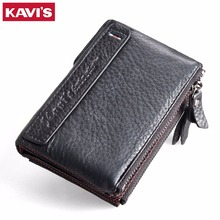 KAVIS Men Wallet 2017 New First Layer Cowhide Genuine Leather Wallet For Men Vintage Small Thin Purse With Zipper Coin Pocket