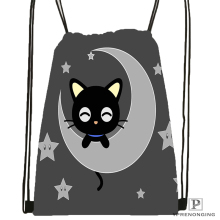Custom Kawaii Black Cat Drawstring Backpack Bag Cute Daypack Kids Satchel (Black Back) 31x40cm#180531-02-45