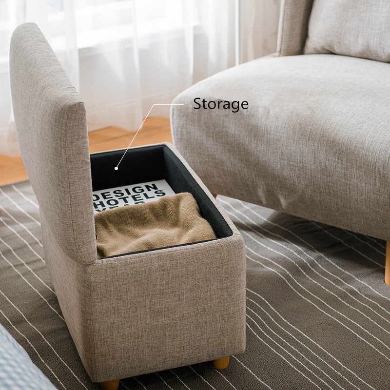 Mid-Century Modern Living Room Accent Chair with Footrest / Storage Ottoman  For Bedroom Lounge Chair Upholstered Round Back Sofa