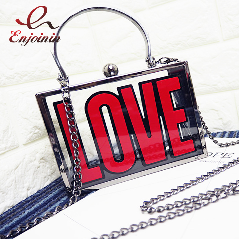 Transparent personality fashion LOVE letter women's casual tote chain handbag shoulder bag crossbody mini messenger bag purse vintage fashion letter book shape pu purse daily clutch bag ladies shoulder bag chain handbag crossbody mini messenger bag