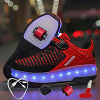 Children's Shoes with Wheels and Lights Luminous Shoes Colorful Glowing Sneakers USB Girls Led Shoes Sneakers Rollers for Boys