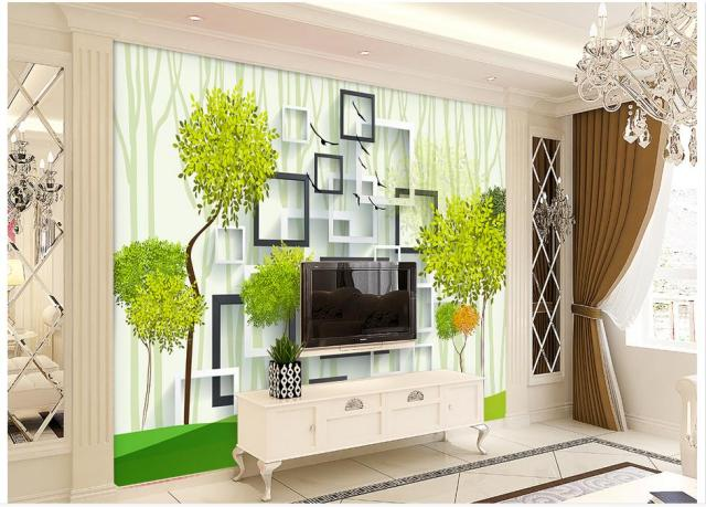 Custom 3d Wallpaper Wall Mural Cube Box Hand Painted Green Bird Background