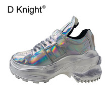 High Heels Platform Shoes Women Spring Autumn 2019 New Designer Silver White Laser Punk Creepers Lady Wedges Harajuku Dad Shoes все цены