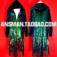 2019 Nightclub Bar Male Singer Hooded Jacket DS DJ Sequins Coats Symphony Green Laser Long Tassel Loose Men Outerwear Costume