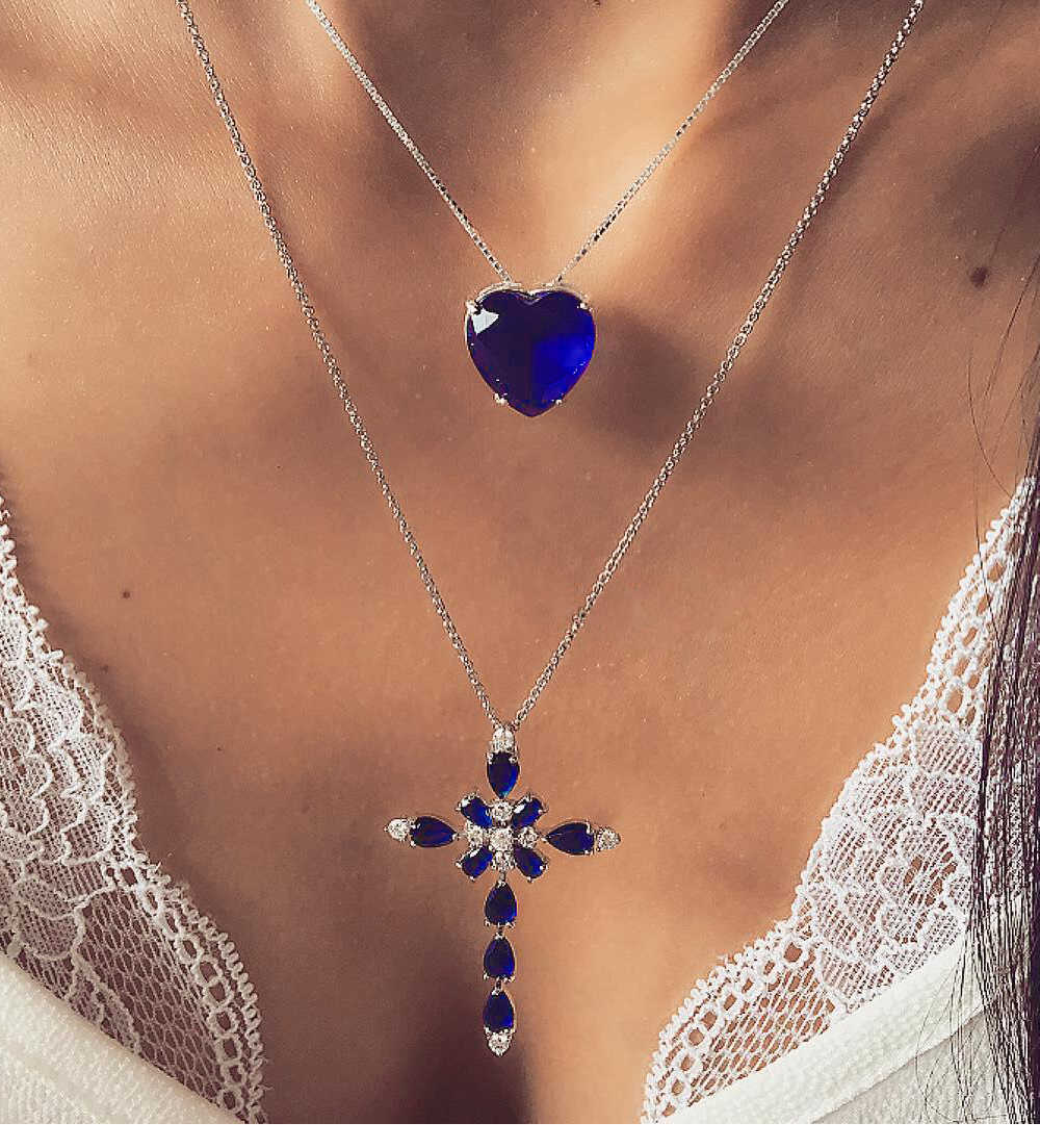 Multilayer Blue Crystal Heart Cross Pendant Necklace for Women Rhinestone Ocean Jewelry Choker Statement Valentine's Day gift