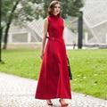 Новый красный шерсть макси платье женщины без рукавов полная длина довольно партии тонкая талия одежда зима пункт старинные платья