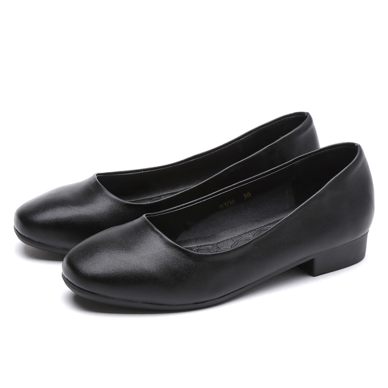 black Shallow mouth Square Occupation Hotel and Airline stewardess Work shoes women With crude Low heel