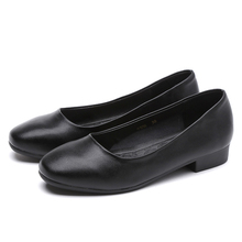 black Shallow mouth Square Occupation Hotel and Airline stewardess Work shoes women With crude Low-heel  Womens Shoes