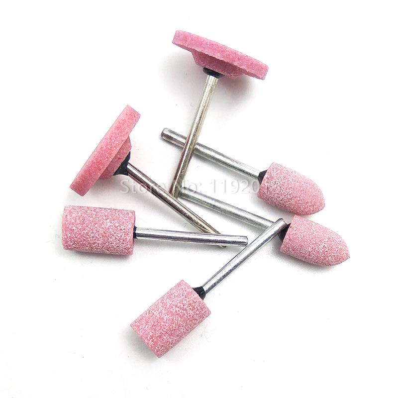 Pink Abrasive Mounted Stone Dremel Rotary Tool Column Bullet T-Shape Grinding Stone Shape Wheel Head Dremel Polishing Accessorie