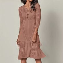 Women's V-Neck Crochet Hollow-Out Cover Slim Fit Knitted Beach Dress Cover Ups hollow out fit