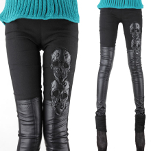 VIHKLC Queen style HI-Q Skinny Skull pattern Leather pants Women Autumn Winter