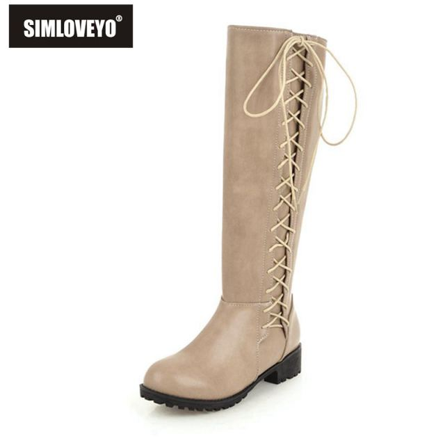 9c9e2ff321c SIMLOVEYO Women Boots Flat Heels Fashion Boots Women Lace Up Knee High  Boots Winter Shoes Size 34-44 Botas feminino mujer B1102